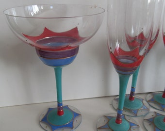 Margarita Glass Hand Painted Stemware Margarita Glasses Barware Bar Cart Decor Southwestern Cervo Tequila Patron