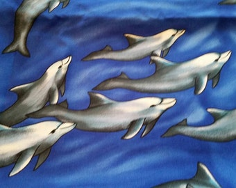 Dolphins Novelty Cotton Fabric 2 Yards Porpoises  X0594