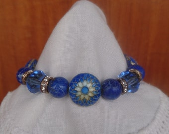 Enameled Blue Beads and Lapis Bracelet and Earrings