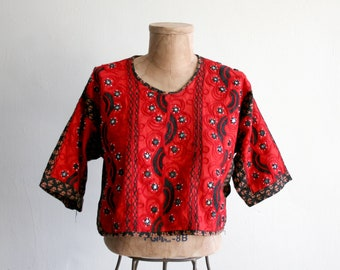 Indian Mirrored Red Cotton Crop Top