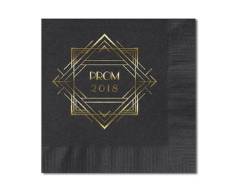Senior Prom Beverage Napkins, Art Deco 20's Theme Prom Personalized 3 Ply Premium Paper Napkins, Color Options Available, See Images.