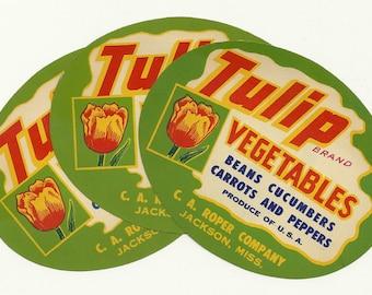 3 Original Vintage Tulip Brand Vegetables Crate Labels From C. A. Roper Co. in Jackson, Mississippi