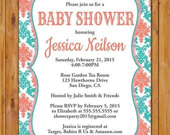 Damask Baby Shower Invitation Teal Coral Baby Boy or Girl Twins Gender Neutral Invite 5x7 Digital JPG Printable (336)