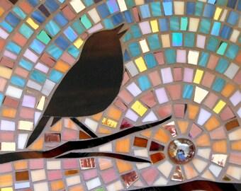 Dawn Robin Greetings Card - Mosaic Art - Dawn Card Mosaic Robin Card - Robin Art - Robin Print - Robin Mosaic  Stained Glass Bird  Bird Card