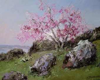 Blooming tree in spring original oil painting on canvas. Countryside nature landscape