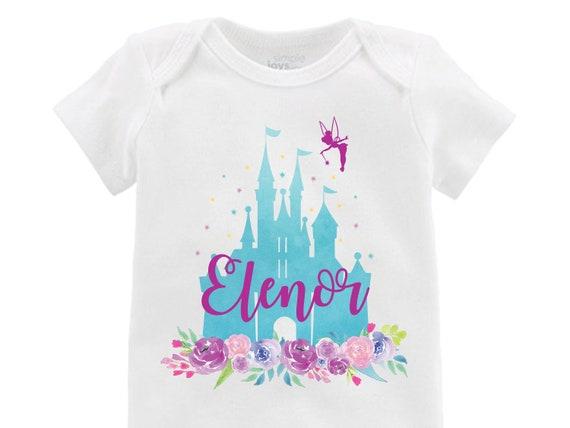 Aqua Cinderella Castle Floral Onesie Personalized Onesie Tinker Bell Flutter Sleeve Raglan Birthday Shirt Girl Shirt Monogram Flowers Pink