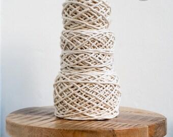 Raw Cotton Rope - Super Soft Luxe String Cotton Cord - 3mm - Fiber Pack - Macrame Rope - Diy Macrame - Weaving - Macrame
