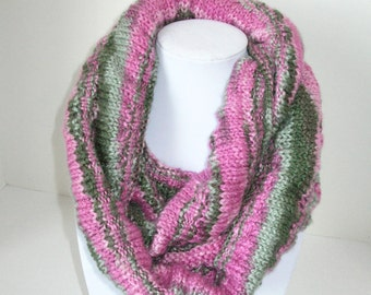 Pink and Green Circle Scarf / Hand Knit Pink and Green Cowl
