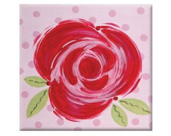 kids room art-red rose- art for girls -  nursery art - modern kids art - floral kids art- red rose decor- red and pink nursery- teen room
