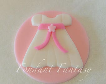 Christening Dress Cupcake Toppers