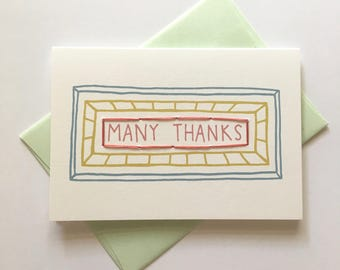 Many Thanks. Hand Stitched Greeting Card. Thank You Card.