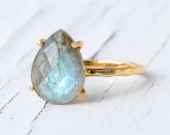 Labradorite Ring Gold, Solitaire Ring, Gemstone Ring, Stacking Ring, Gold Ring, Tear Drop Ring, Prong Set Ring, Unique Ring, Boho Ring
