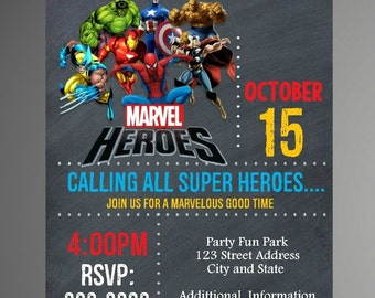 EDITABLE TEXT Super Heroes Birthday Invitation - Super Heroes Birthday Invites -  Super Heroes Birthday Invite -Instant Download