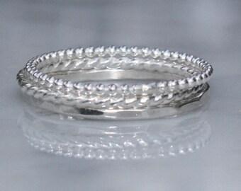 3 Skinny Argentium Sterling Silver Stacking Rings, Skinny Rings, Custom made