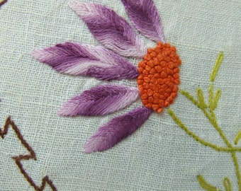 Antique Linen Doily Dresser Scarf Embroidered Crocheted Purple Coneflower
