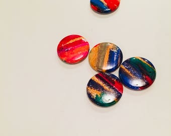1, One Inch Abstract button