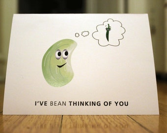 I've Bean Thinking of You. Blank, Illustrated, Vegetable Pun Greeting Card