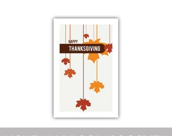 """Happy Thanksgiving Fall Autumn hanging falling leaves program cover 8.5""""x11"""""""
