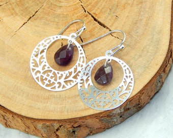 Amethyst Earrings, February Birthstone, Silver Amethyst Earrings, Amethyst Jewelry, Gemstone Jewelry