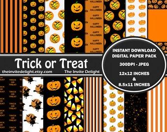 Trick or Treat Digital Paper Pack, Halloween Party Printable, Pumpkins, Jackolanterns, Scrapbooking Paper, Instant Download