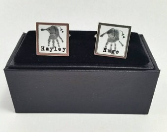Personalised handprint cufflinks - Square