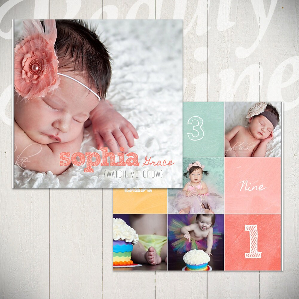 Baby Album Template: Watch Me Grow First Year Book Template