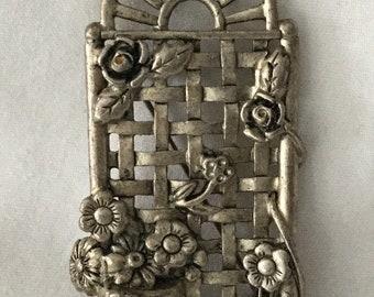 Vintage Pewtertone Garden Trellis w/ Flowers Pin