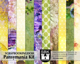 CU Digital Papers  Pansymania .. matching embellishments avail in store #scrapbooking