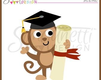 Graduation Clipart, Graduation clip art, graduation cap, monkey clipart, diploma clipart, school clipart, instant download