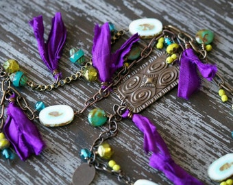 Unlisted - Chain Necklace - Purple  Necklace - Long  Necklace - Teal and Purple - Eclectic Necklace - Boho Necklace - Bead Soup Jewelry