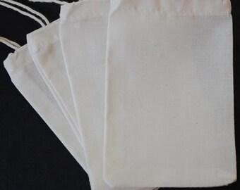 "100 Organic Cotton Muslin Bag 3""x4"" 4""x6"" 2""x3"" Culinary Reuse Biodegradable Ecofriend Packaging Herb Favor Bag Soap Jewelry Tea Bulk"