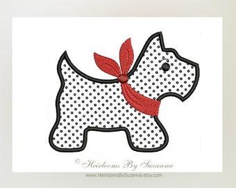 Scottie Dog - Puppy - Children Applique - Baby Design - Nursery Applique - Machine Applique Design - Machine Embroidery Design - 3 Sizes