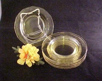 "Vintage Fostoria Fairfax Topaz Yellow Glass 6"" Bread and Butter Plates, Set of 6 Elegant Glassware of Depression Era Dinnerware Plates"