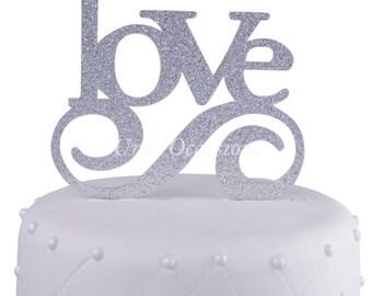 Unik Occasions Love Wedding Acrylic Cake Topper - Silver Glitter