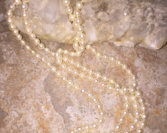 SALE Cultured Pearl Necklace Estate Find Double Opera Length 68in 8mm