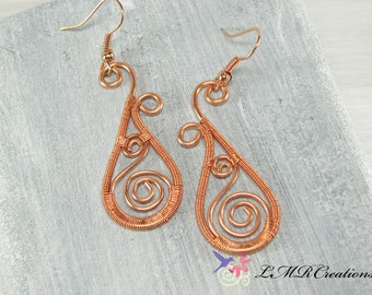 Copper Wire Teardrop Earrings, Paisley Wire Wrapped Dangle Earrings, Boho Pierced Ear Earrings