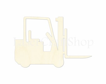 """2"""" - 34"""" Forklift Wooden Cutout Shape, Silhouette, Gift Tags Ornaments, Decoration Laser Cut Birch Wood  #1277"""