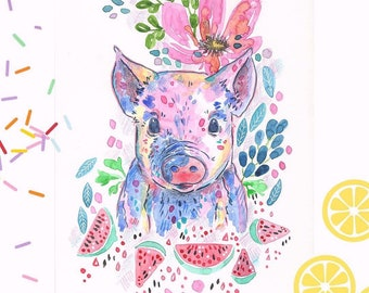 """Art print watercolor painting """"Pig""""-Signed-"""