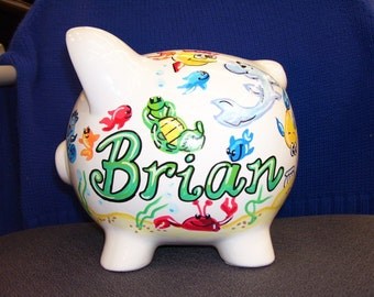 Piggy Bank Handpainted Personalized  Under the Sea Theme