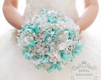 READY TO SHIP! Mint Brooch Bouquet Wedding Bouquet Mint Bridal Bouquet Hydrangea Bouquet Jewelry Bouquet Bridesmaids Bouquet Broach Bouquet