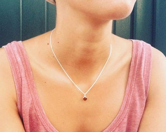 silver choker necklace with enamel, minimal pendant with thin chain, to wear daily, author jewelry , handmade , sterling silver