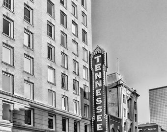 Tennessee Theatre Sign Marquee Black and White Downtown Knoxville Tennessee Americana Art Photographic  Print