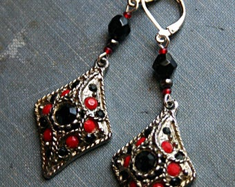 Red and Black Tribal Steampunk Vintage Salvage Assemblage Earrings - ATS, Belly Dance, Renaissance Festival, Boho, Fashion