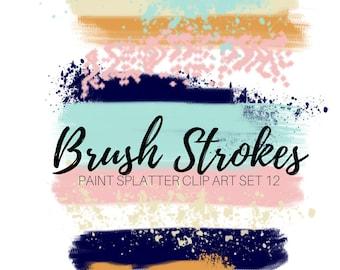 Paint Brush Clip Art - Brush Stroke Clip Art - Ink Splatter - Ink blots - Commercial Use