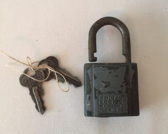 Vintage Chicago Padlock and Keys