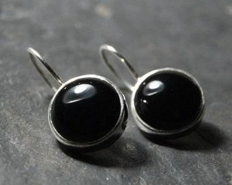 Large Black Onyx Drop Earrings in Polished Sterling Silver