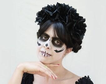 Day of the Dead Headpiece, Black Rose Crown, Black Flower Crown, Dia de los Muertos Costume, Sugar Skull, Black Rose Headband, Boho, Goth