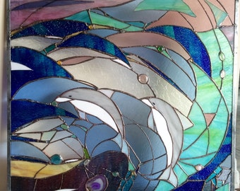 Stained Glass Dolphins Window Transom Panel w Agates OOAK