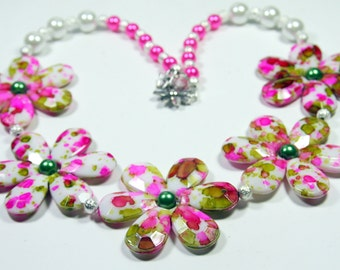 Pink and Spring Flowers Necklace
