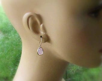 Violet Opal Gold Filled Earrings, Faceted Glass Opal Teardrops, 14kt Gold Filled Handmade Earwires, Violet Drop Earrings for Her